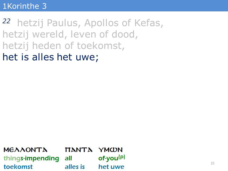 1Korinthe 3 22 hetzij Paulus, Apollos of Kefas, hetzij wereld, leven of dood, hetzij heden of toekomst, het is alles het uwe; 25