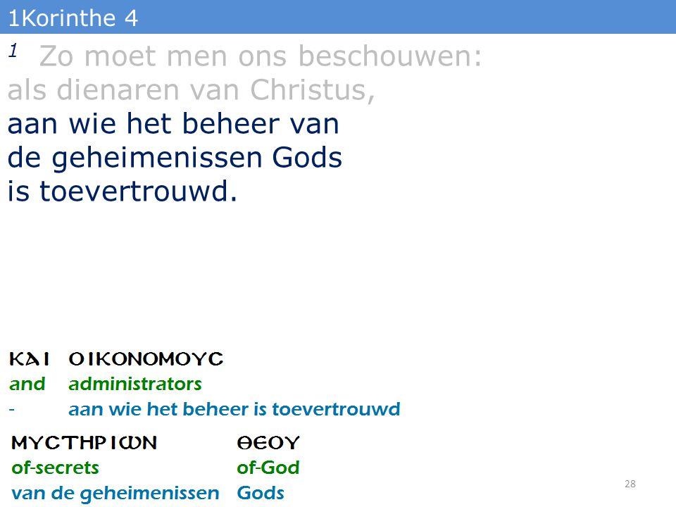 1Korinthe 4 1 Zo moet men ons beschouwen: als dienaren van Christus, aan wie het beheer van de geheimenissen Gods is toevertrouwd.
