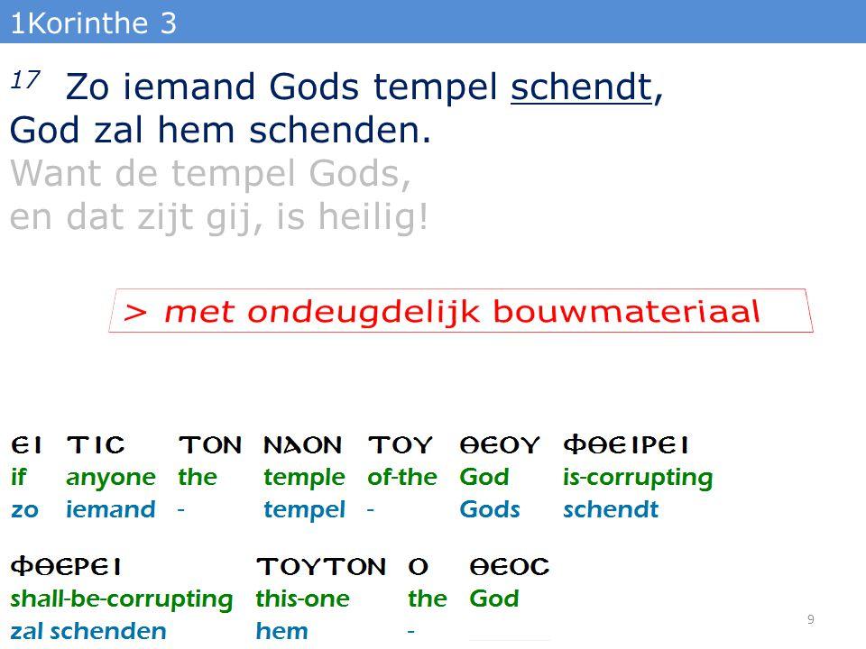 1Korinthe 3 17 Zo iemand Gods tempel schendt, God zal hem schenden.