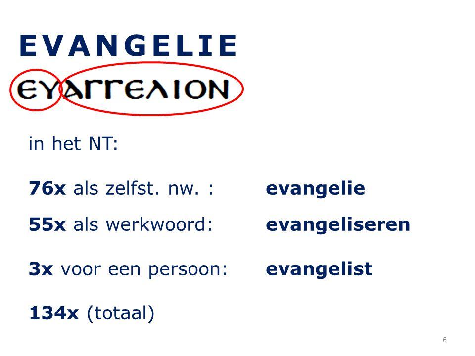 EVANGELIE in het NT: 76x als zelfst. nw. : evangelie 55x als werkwoord: evangeliseren 3x voor een persoon: evangelist 134x (totaal) 6