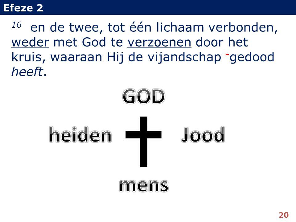 16 en de twee, tot één lichaam verbonden, weder met God te verzoenen door het kruis, waaraan Hij de vijandschap - gedood heeft.