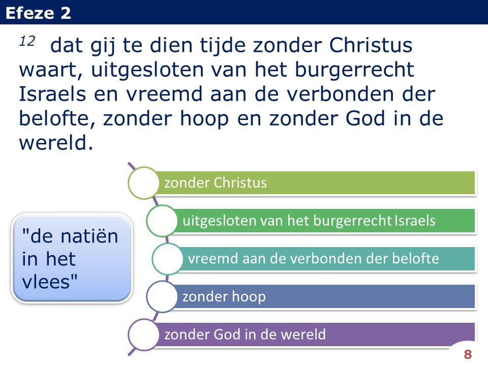 12 dat gij te dien tijde zonder Christus waart, uitgesloten van het burgerrecht Israels en vreemd aan de verbonden der belofte, zonder hoop en zonder God in de wereld.