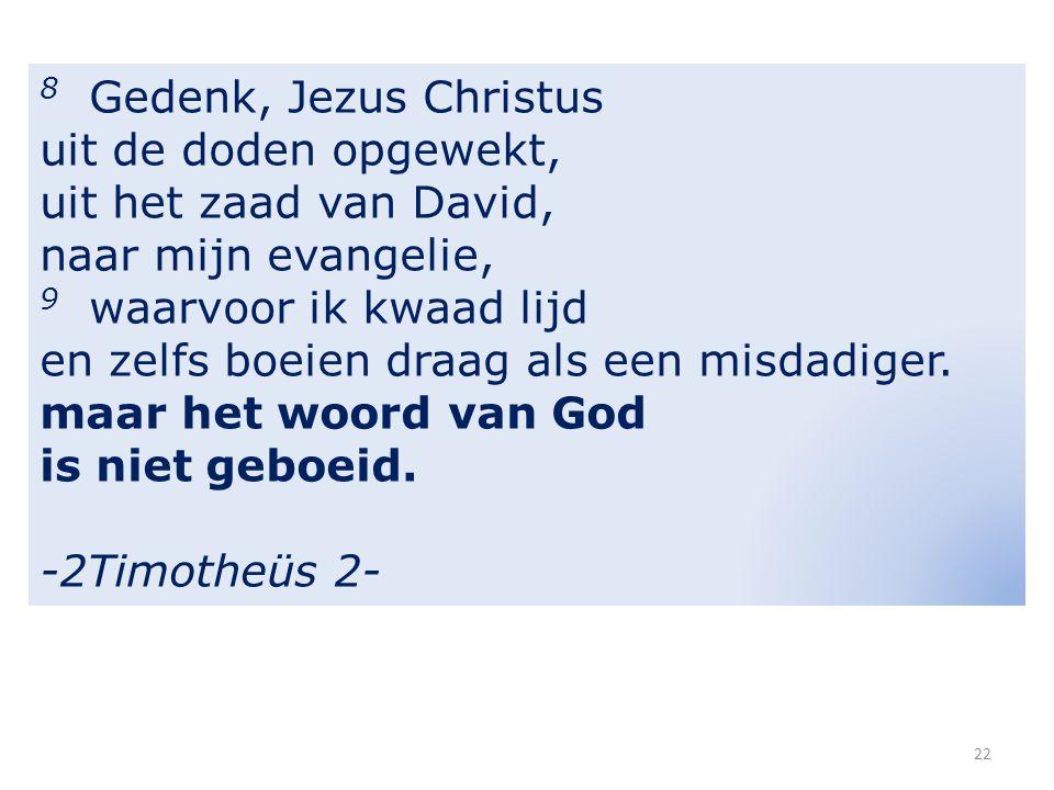 8 Gedenk, Jezus Christus uit de doden opgewekt, uit het zaad van David, naar mijn evangelie, 9 waarvoor ik kwaad lijd en zelfs boeien draag als een misdadiger.