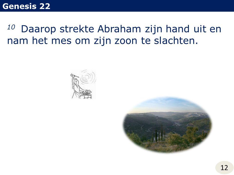 Genesis 22 12 10 Daarop strekte Abraham zijn hand uit en nam het mes om zijn zoon te slachten.