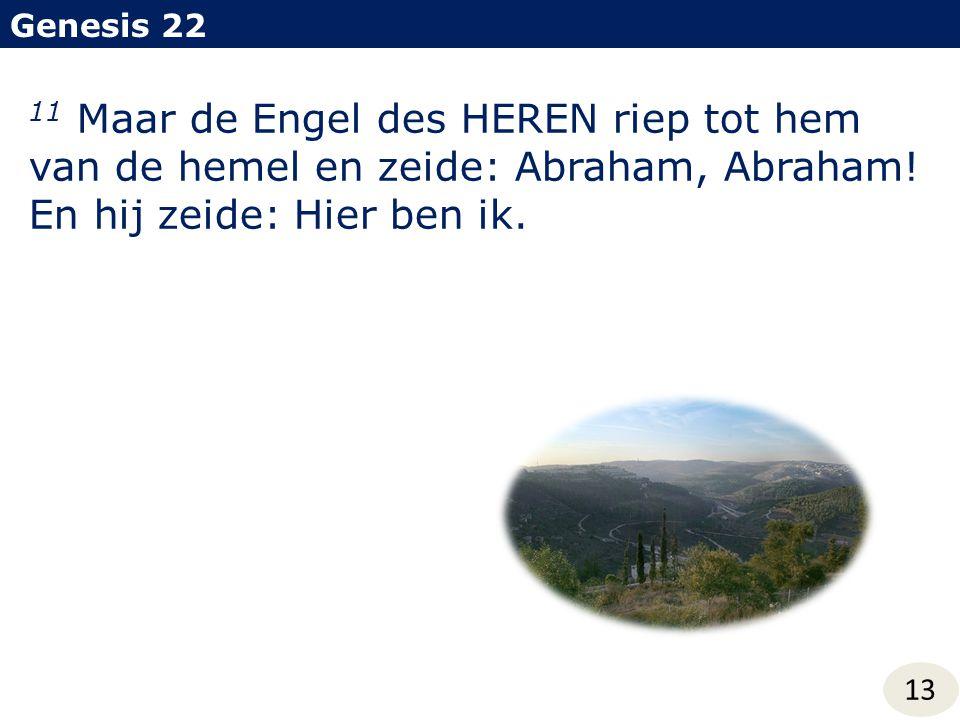 Genesis 22 13 11 Maar de Engel des HEREN riep tot hem van de hemel en zeide: Abraham, Abraham! En hij zeide: Hier ben ik.