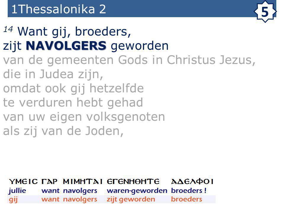 1Thessalonika 2 5 14 Want gij, broeders, NAVOLGERS zijt NAVOLGERS geworden van de gemeenten Gods in Christus Jezus, die in Judea zijn, omdat ook gij hetzelfde te verduren hebt gehad van uw eigen volksgenoten als zij van de Joden,