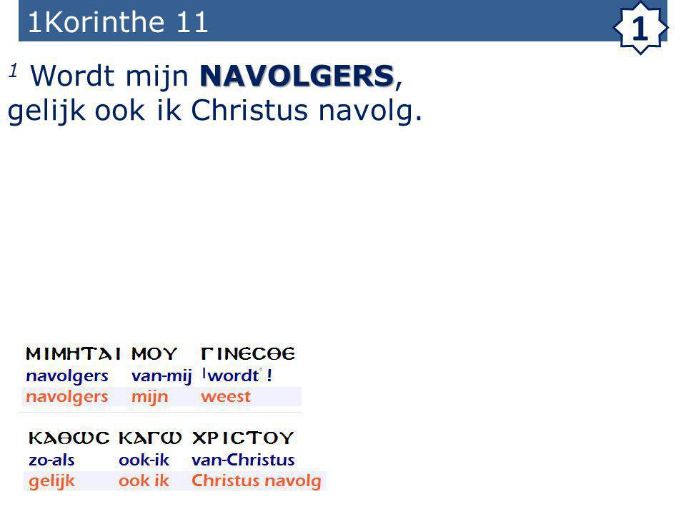 1Korinthe 11 1 NAVOLGERS 1 Wordt mijn NAVOLGERS, gelijk ook ik Christus navolg.