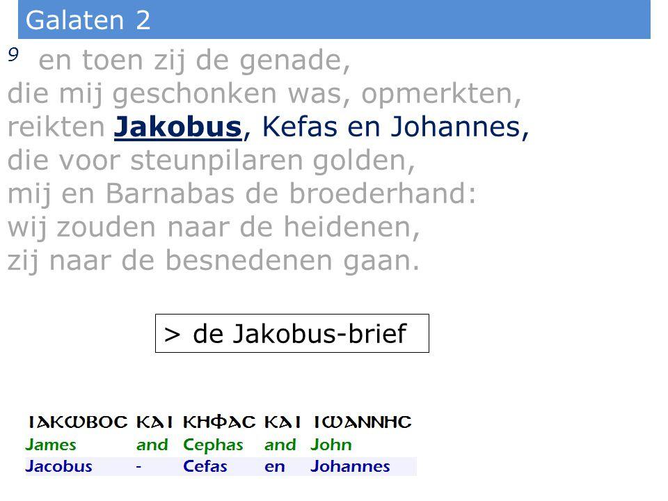 Galaten 2 9 en toen zij de genade, die mij geschonken was, opmerkten, reikten Jakobus, Kefas en Johannes, die voor steunpilaren golden, mij en Barnabas de broederhand: wij zouden naar de heidenen, zij naar de besnedenen gaan.