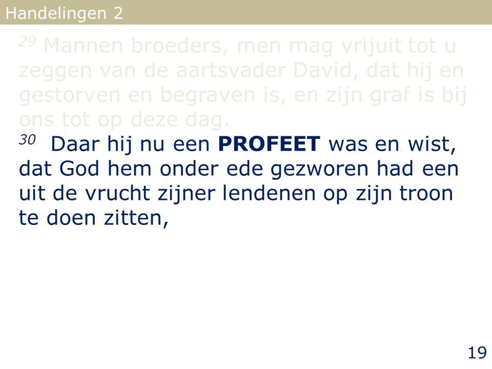 29 Mannen broeders, men mag vrijuit tot u zeggen van de aartsvader David, dat hij en gestorven en begraven is, en zijn graf is bij ons tot op deze dag