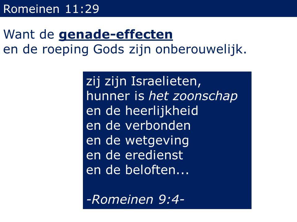 Romeinen 11:29 Want de genade-effecten en de roeping Gods zijn onberouwelijk. zij zijn Israelieten, hunner is het zoonschap en de heerlijkheid en de v