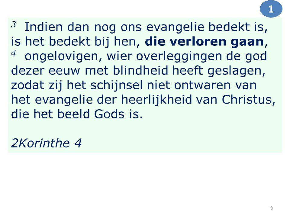 3 Indien dan nog ons evangelie bedekt is, is het bedekt bij hen, die verloren gaan, 4 ongelovigen, wier overleggingen de god dezer eeuw met blindheid