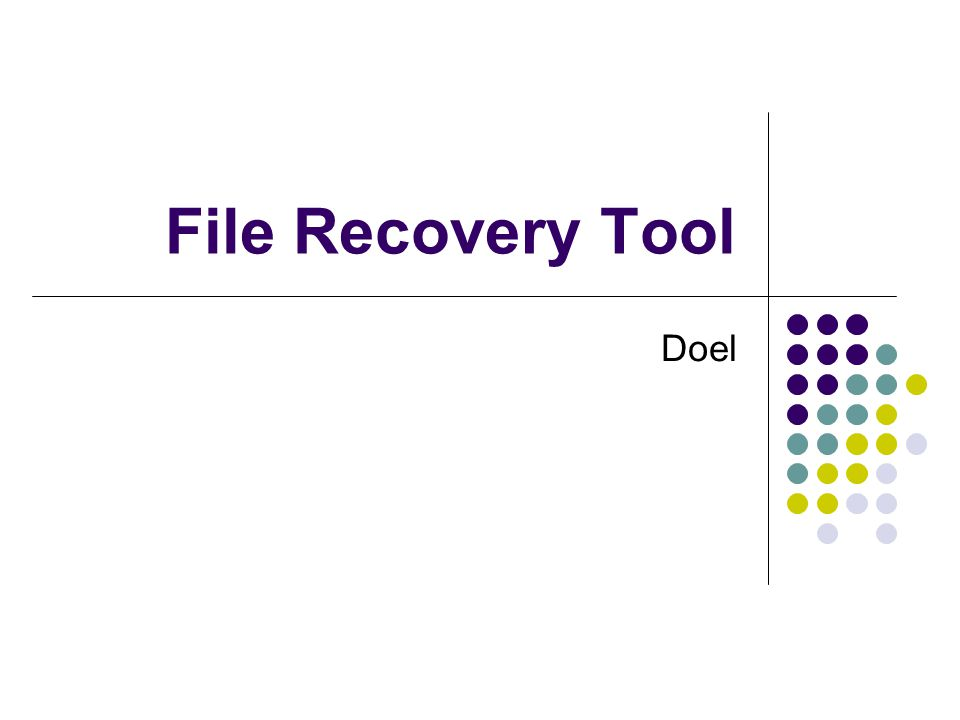 File Recovery Tool Doel