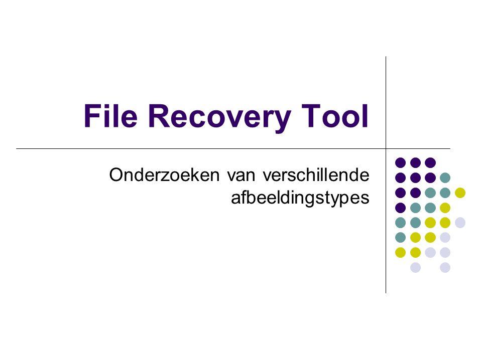 File Recovery Tool Onderzoeken van verschillende afbeeldingstypes