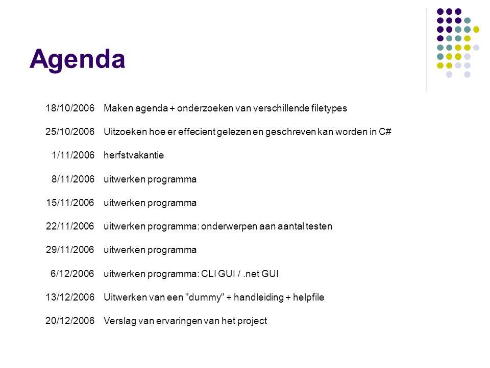 Agenda 18/10/2006Maken agenda + onderzoeken van verschillende filetypes 25/10/2006Uitzoeken hoe er effecient gelezen en geschreven kan worden in C# 1/11/2006herfstvakantie 8/11/2006uitwerken programma 15/11/2006uitwerken programma 22/11/2006uitwerken programma: onderwerpen aan aantal testen 29/11/2006uitwerken programma 6/12/2006uitwerken programma: CLI GUI /.net GUI 13/12/2006Uitwerken van een dummy + handleiding + helpfile 20/12/2006Verslag van ervaringen van het project
