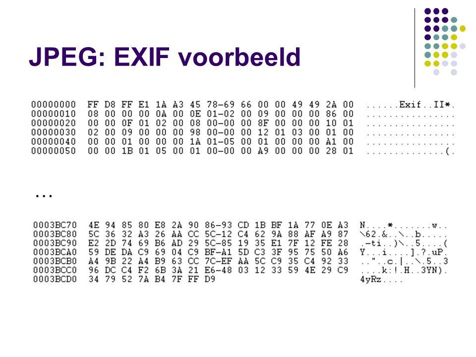 JPEG: EXIF voorbeeld …