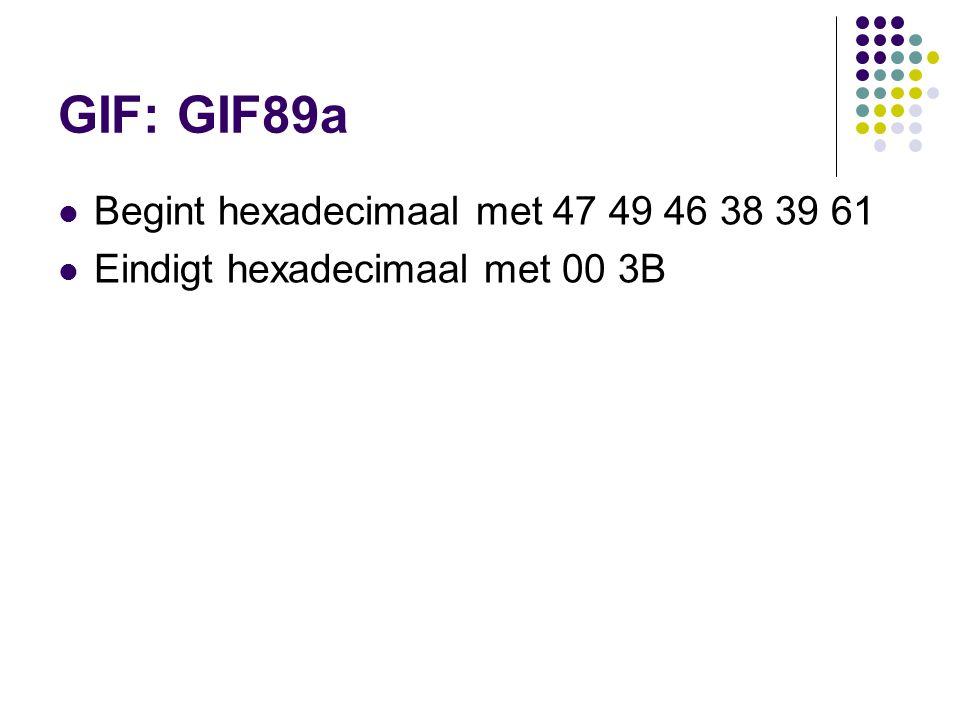 GIF: GIF89a Begint hexadecimaal met 47 49 46 38 39 61 Eindigt hexadecimaal met 00 3B