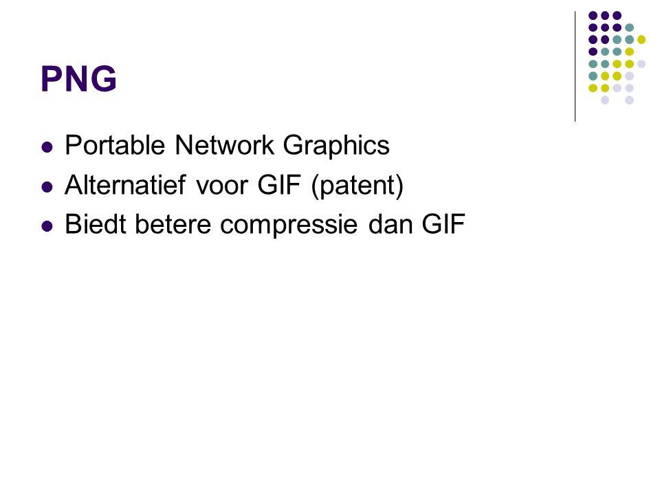 PNG Portable Network Graphics Alternatief voor GIF (patent) Biedt betere compressie dan GIF