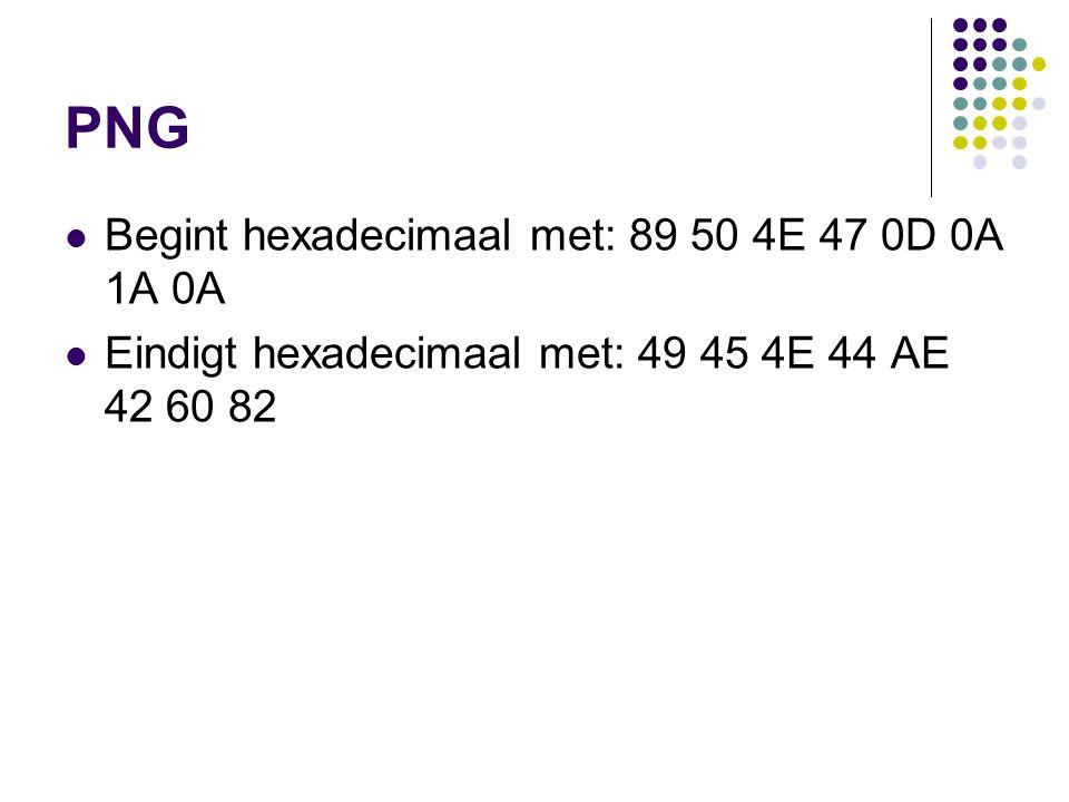 PNG Begint hexadecimaal met: 89 50 4E 47 0D 0A 1A 0A Eindigt hexadecimaal met: 49 45 4E 44 AE 42 60 82