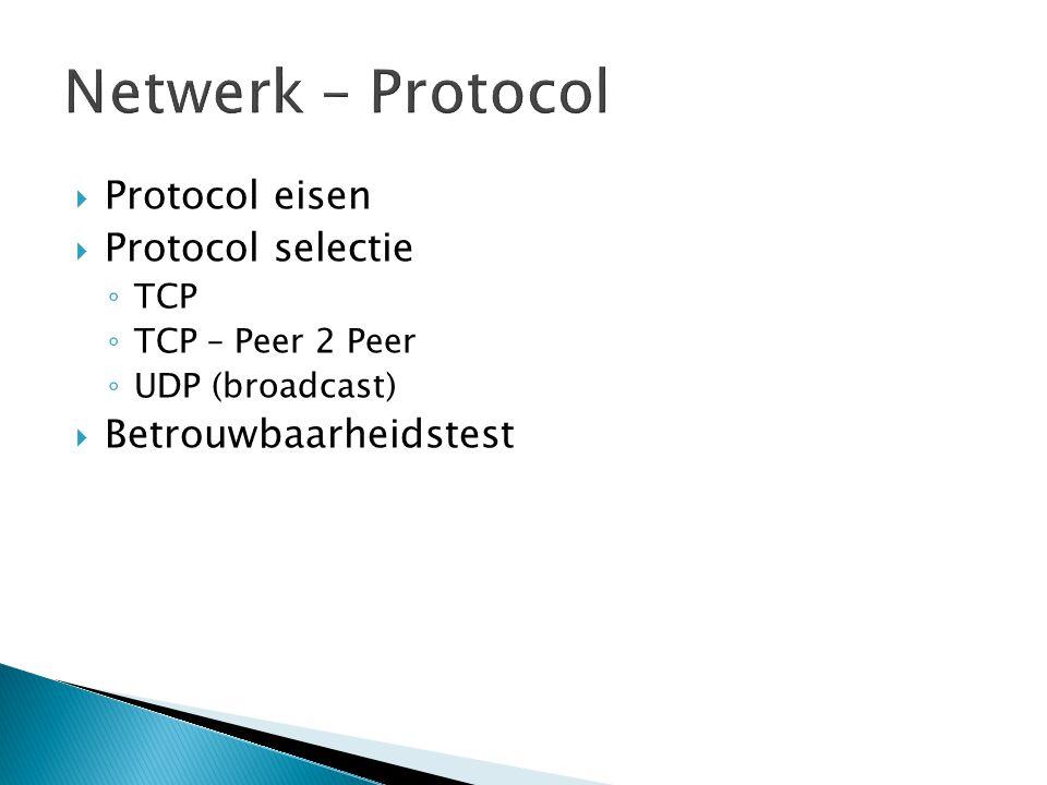  Protocol eisen  Protocol selectie ◦ TCP ◦ TCP – Peer 2 Peer ◦ UDP (broadcast)  Betrouwbaarheidstest