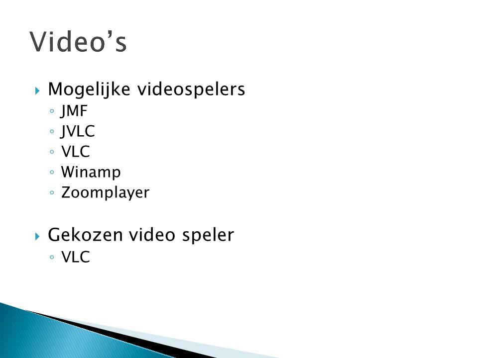  Mogelijke videospelers ◦ JMF ◦ JVLC ◦ VLC ◦ Winamp ◦ Zoomplayer  Gekozen video speler ◦ VLC