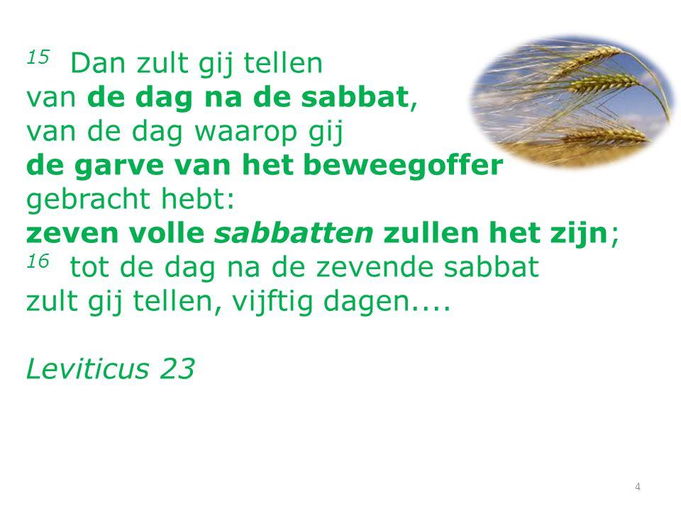 15 Dan zult gij tellen van de dag na de sabbat, van de dag waarop gij de garve van het beweegoffer gebracht hebt: zeven volle sabbatten zullen het zijn; 16 tot de dag na de zevende sabbat zult gij tellen, vijftig dagen....