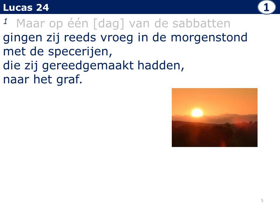 1 Maar op één [dag] van de sabbatten gingen zij reeds vroeg in de morgenstond met de specerijen, die zij gereedgemaakt hadden, naar het graf.