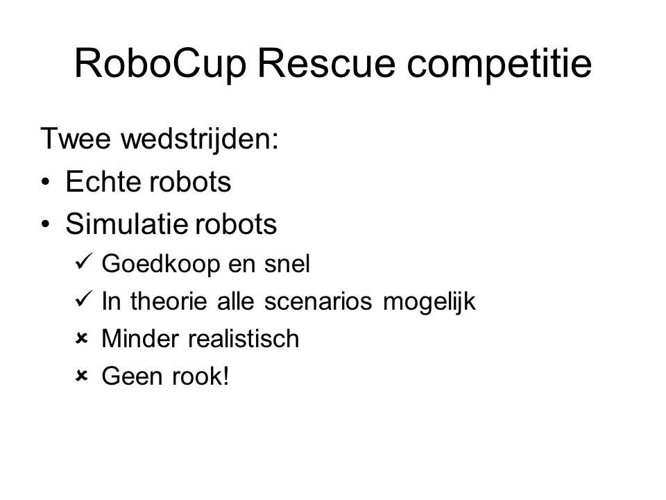 RoboCup Rescue competitie Twee wedstrijden: Echte robots Simulatie robots Goedkoop en snel In theorie alle scenarios mogelijk  Minder realistisch  Geen rook!