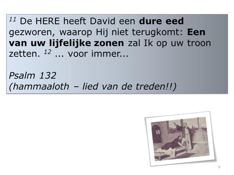11 De HERE heeft David een dure eed gezworen, waarop Hij niet terugkomt: Een van uw lijfelijke zonen zal Ik op uw troon zetten. 12... voor immer... Ps