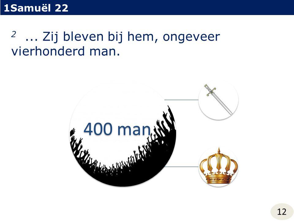 1Samuël 22 12 2... Zij bleven bij hem, ongeveer vierhonderd man. 400 man