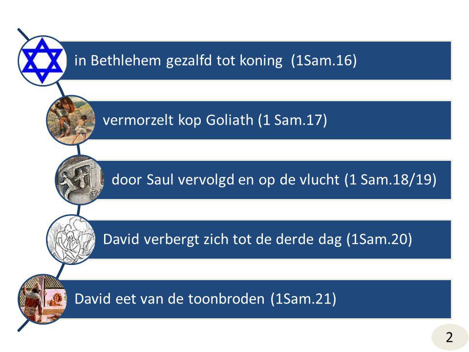 in Bethlehem gezalfd tot koning (1Sam.16) vermorzelt kop Goliath (1 Sam.17) door Saul vervolgd en op de vlucht (1 Sam.18/19) David verbergt zich tot de derde dag (1Sam.20) David eet van de toonbroden (1Sam.21) 2