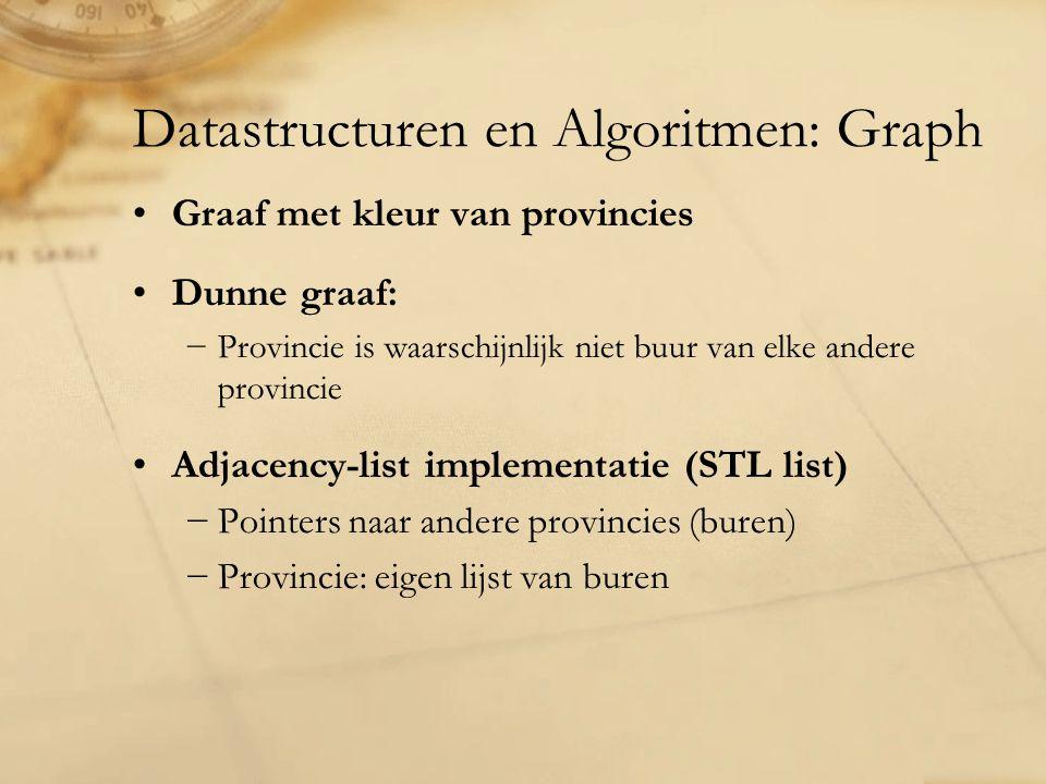 Datastructuren en Algoritmen: Graph Graaf met kleur van provincies Dunne graaf: −Provincie is waarschijnlijk niet buur van elke andere provincie Adjacency-list implementatie (STL list) −Pointers naar andere provincies (buren) −Provincie: eigen lijst van buren