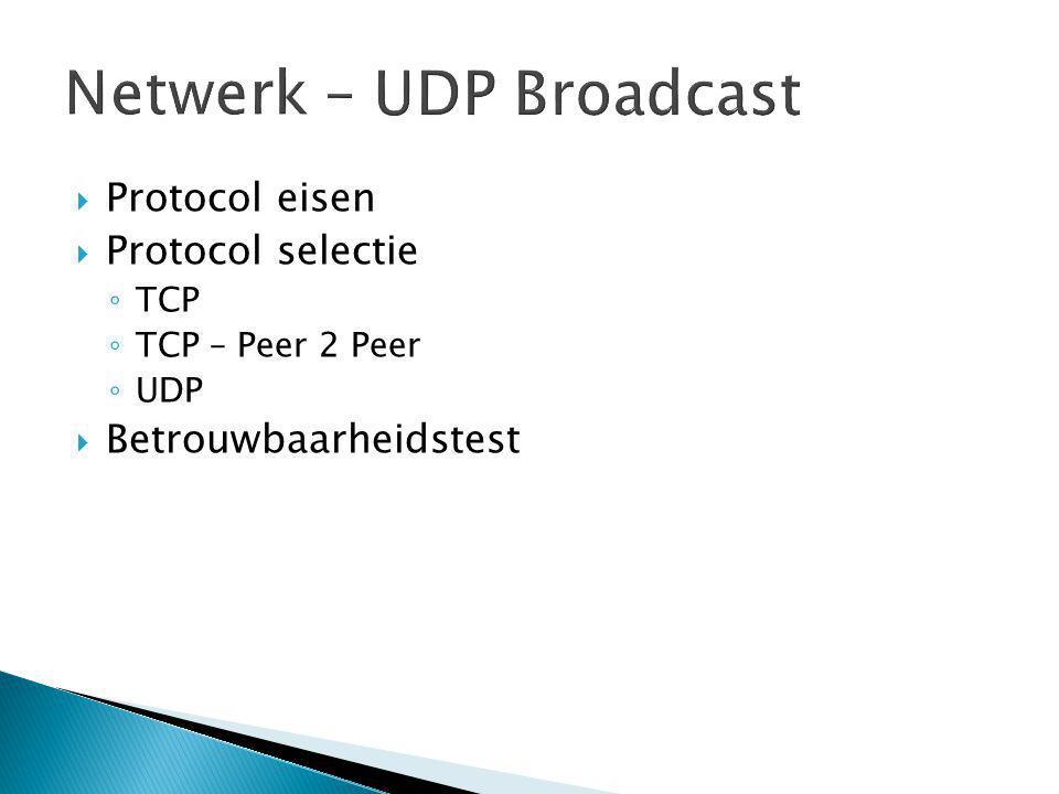  Protocol eisen  Protocol selectie ◦ TCP ◦ TCP – Peer 2 Peer ◦ UDP  Betrouwbaarheidstest