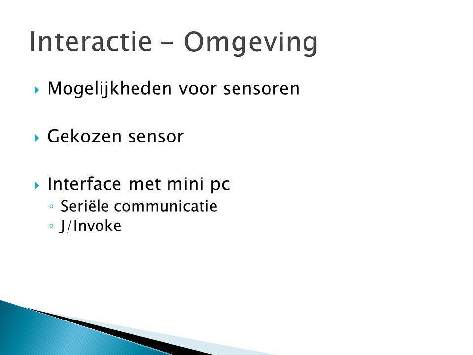  Mogelijkheden voor sensoren  Gekozen sensor  Interface met mini pc ◦ Seriële communicatie ◦ J/Invoke