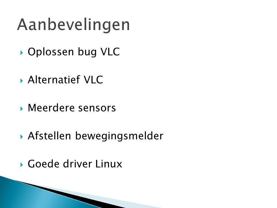  Oplossen bug VLC  Alternatief VLC  Meerdere sensors  Afstellen bewegingsmelder  Goede driver Linux