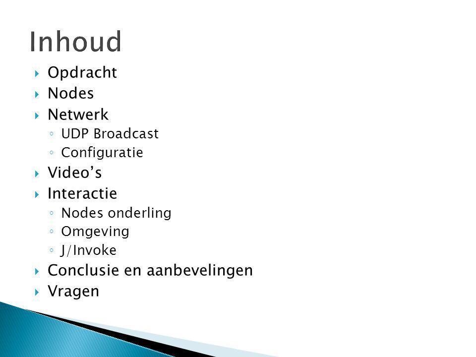  Opdracht  Nodes  Netwerk ◦ UDP Broadcast ◦ Configuratie  Video's  Interactie ◦ Nodes onderling ◦ Omgeving ◦ J/Invoke  Conclusie en aanbevelingen  Vragen