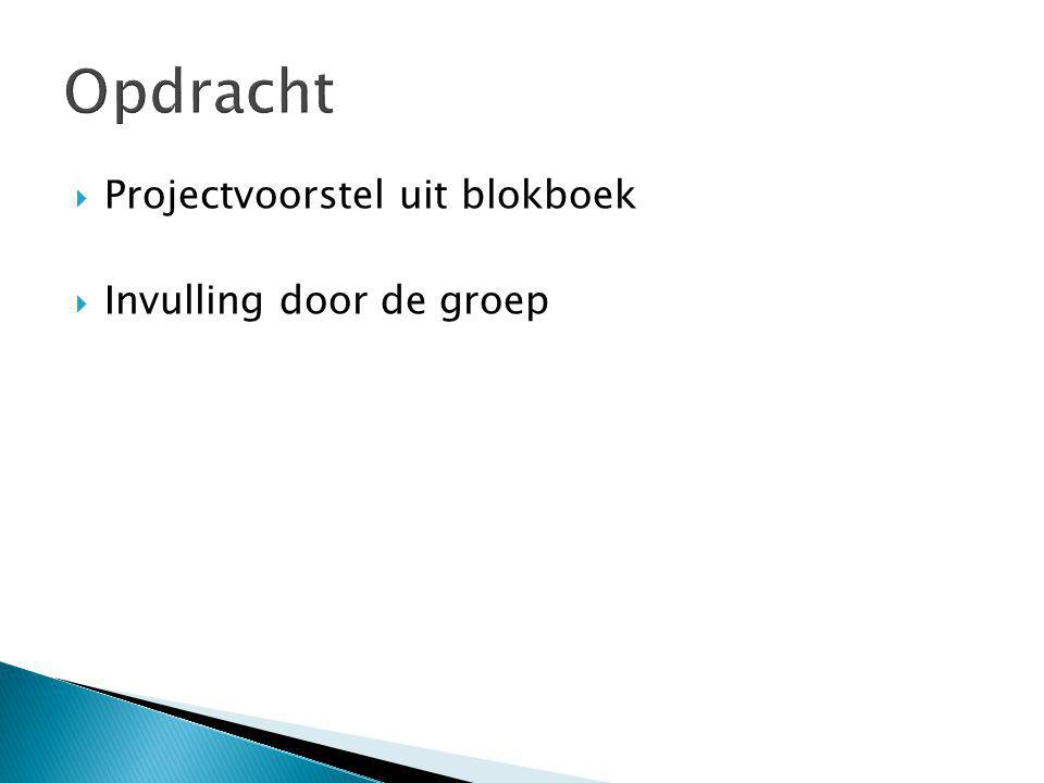  Projectvoorstel uit blokboek  Invulling door de groep