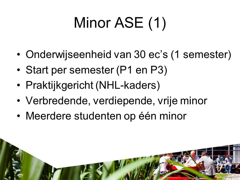 Minor ASE (2) Zelf samen te stellen Aspecten –Thema/Onderwerp –Project –(Onderzoek) –Vakken Template Samenhang tussen de onderdelen Blijft over: - Vrije ruimte - Minoren