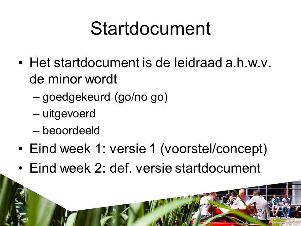 Startdocument Het startdocument is de leidraad a.h.w.v. de minor wordt –goedgekeurd (go/no go) –uitgevoerd –beoordeeld Eind week 1: versie 1 (voorstel
