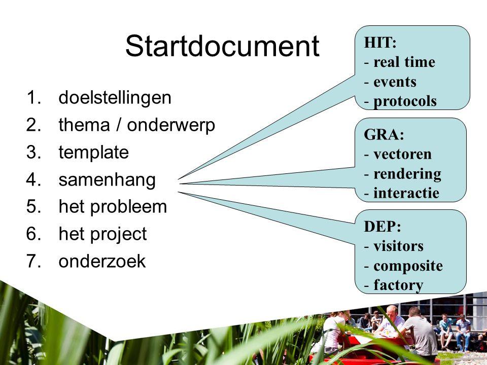 Startdocument 1.doelstellingen 2.thema / onderwerp 3.template 4.samenhang 5.het probleem 6.het project 7.onderzoek Probleem …meten …registreren …visualiseren Project …doel …eisen … randvrwd.