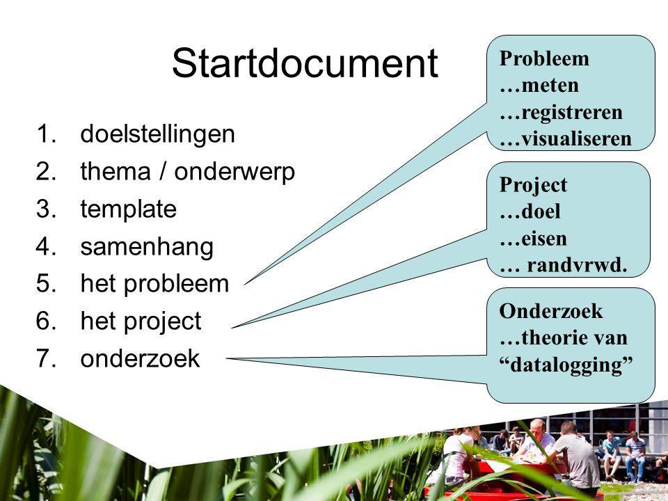 Startdocument 1.doelstellingen 2.thema / onderwerp 3.template 4.samenhang 5.het probleem 6.het project 7.onderzoek Probleem …meten …registreren …visua