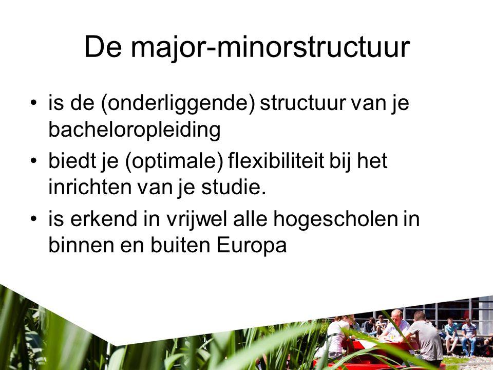 De major-minorstructuur is de (onderliggende) structuur van je bacheloropleiding biedt je (optimale) flexibiliteit bij het inrichten van je studie. is