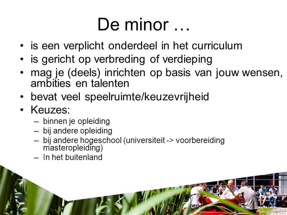 De minor … is een verplicht onderdeel in het curriculum is gericht op verbreding of verdieping mag je (deels) inrichten op basis van jouw wensen, ambi