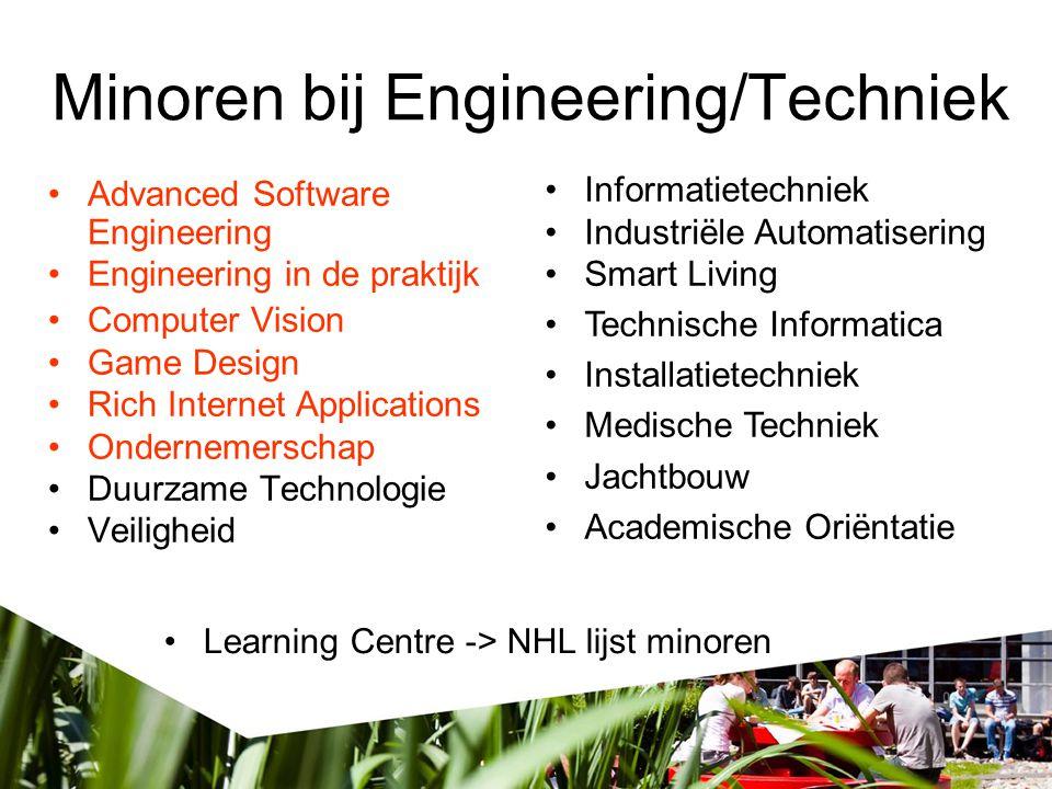 Minoren bij Engineering/Techniek Advanced Software Engineering Engineering in de praktijk Computer Vision Game Design Rich Internet Applications Onder