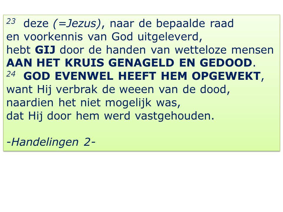 23 deze (=Jezus), naar de bepaalde raad en voorkennis van God uitgeleverd, hebt GIJ door de handen van wetteloze mensen AAN HET KRUIS GENAGELD EN GEDO