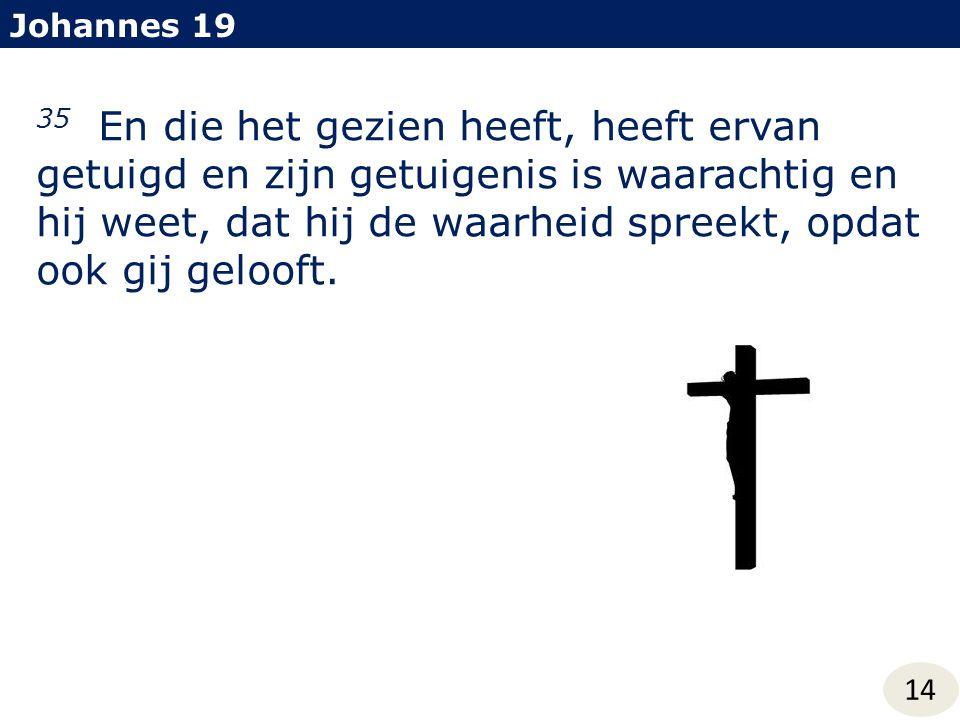 Johannes 19 35 En die het gezien heeft, heeft ervan getuigd en zijn getuigenis is waarachtig en hij weet, dat hij de waarheid spreekt, opdat ook gij g