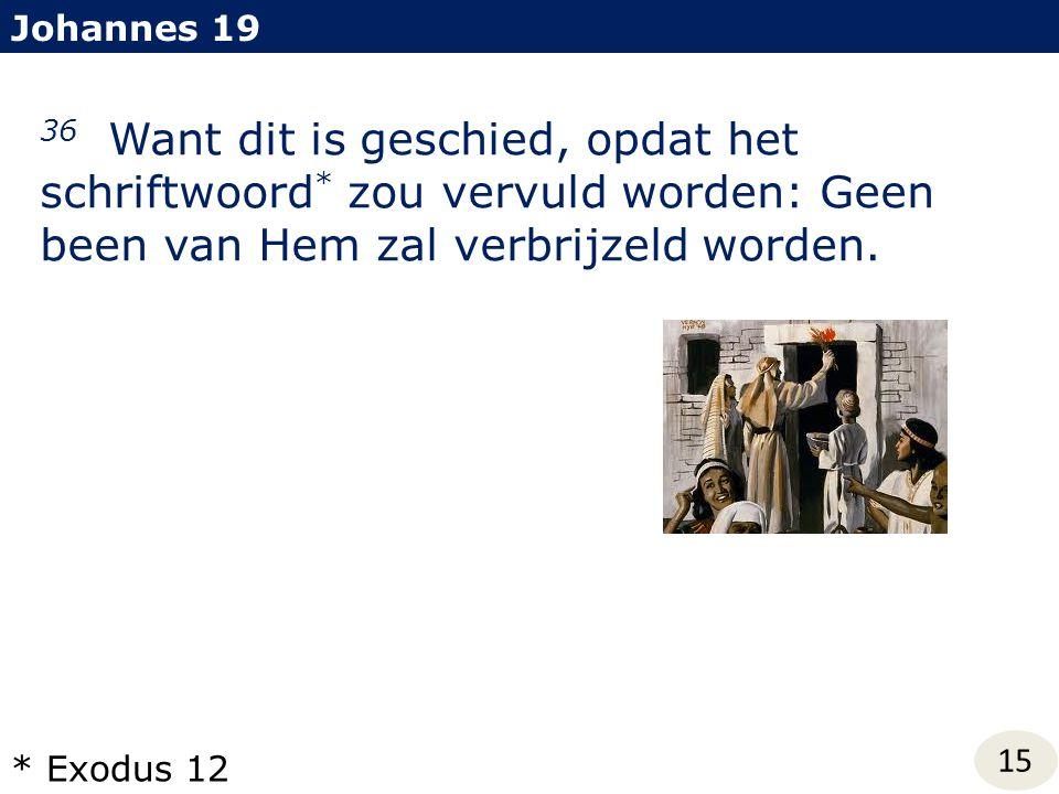 Johannes 19 36 Want dit is geschied, opdat het schriftwoord * zou vervuld worden: Geen been van Hem zal verbrijzeld worden. 15 * Exodus 12