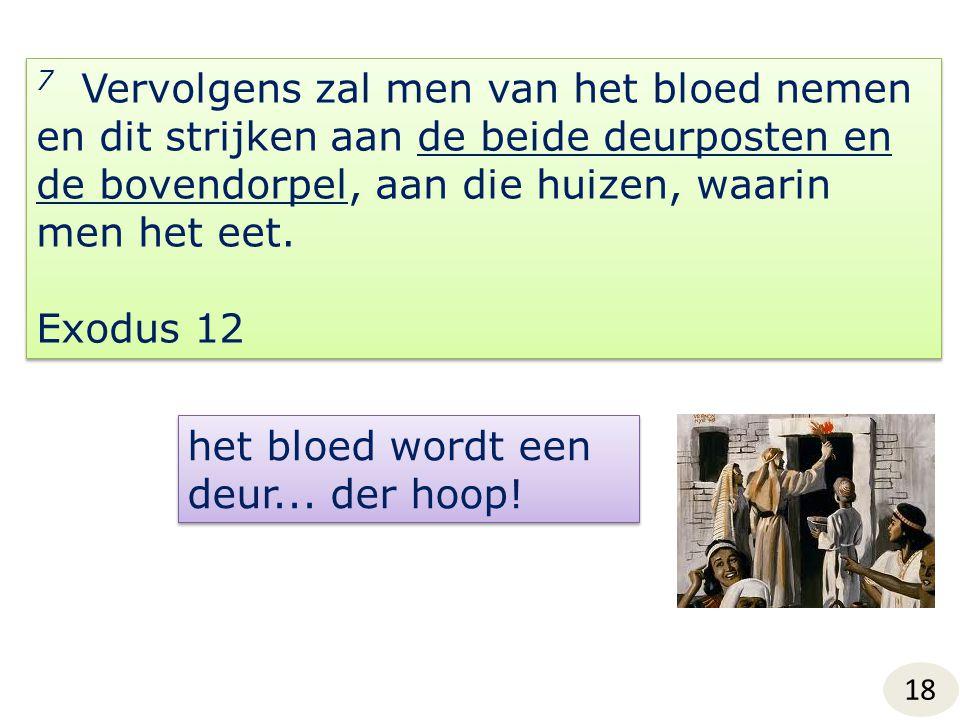 7 Vervolgens zal men van het bloed nemen en dit strijken aan de beide deurposten en de bovendorpel, aan die huizen, waarin men het eet. Exodus 12 7 Ve