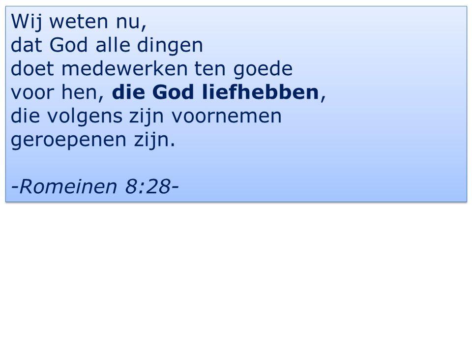 Wij weten nu, dat God alle dingen doet medewerken ten goede voor hen, die God liefhebben, die volgens zijn voornemen geroepenen zijn.