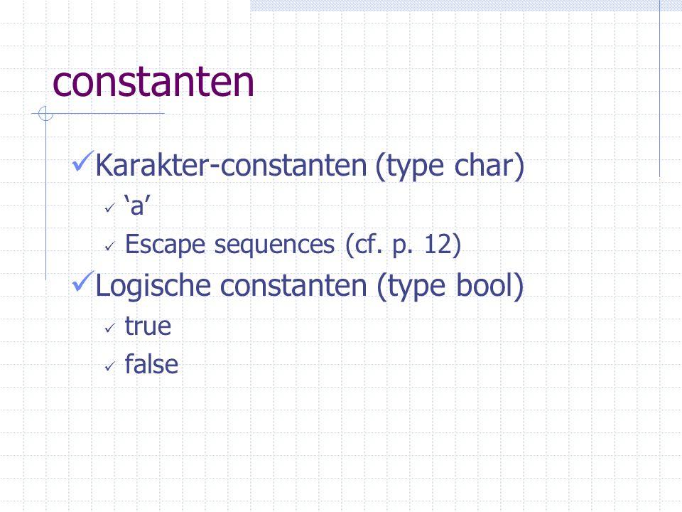 constanten String-constanten #include string String s = dit is een string Zie later hoofdstuk 6