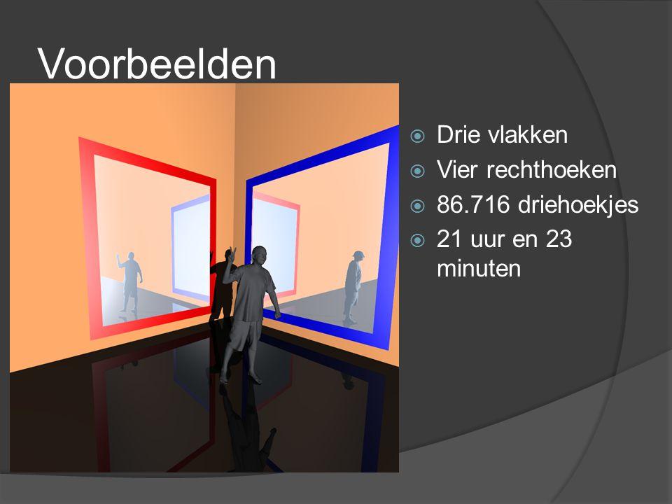 Voorbeelden  Drie vlakken  Vier rechthoeken  86.716 driehoekjes  21 uur en 23 minuten